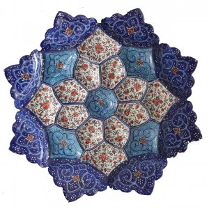بشقاب مینا کاری 16 سانتی، فروشگاه صنایع دستی نیلگون