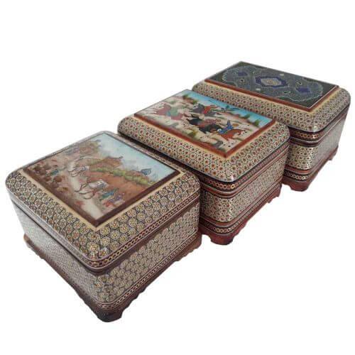 سری جعبه سه تایی خاتم ،فروشگاه صنایع دستی نیلگون
