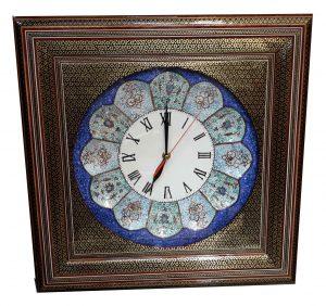 ساعت مینا کاری با قاب خاتم کاری ،فروشگاه صنایع دستی نیلگون