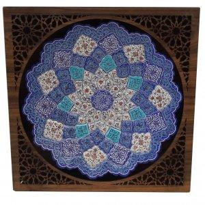 بشقاب مینا کاری با قاب چوبی،فروشگاه صنایع دستی نیلگون