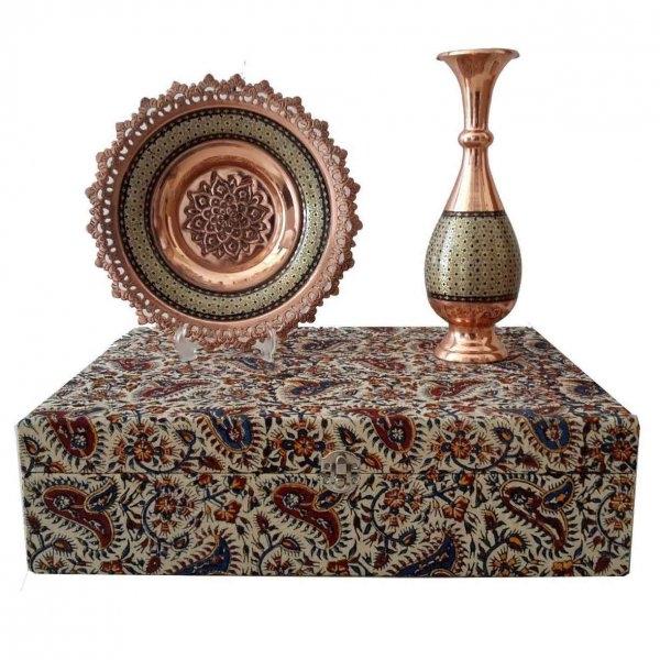 ست بشقاب و گلدان خاتم ،فروشگاه صنایع دستی نیلگون