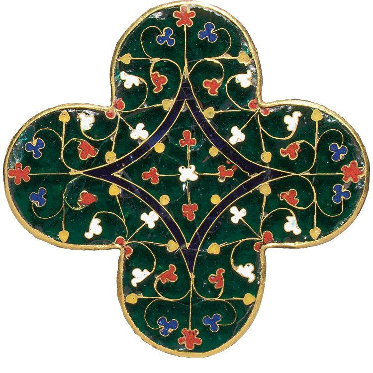 لوحی چهارگوش میناکاری شده، ساخته شده در پاریس، فرانسه حدود سال های ۱۳۰۰-۱۲۸۰